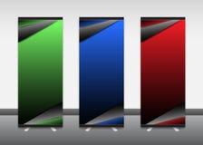 Rollen Sie oben Fahne, Informationen, Farbe, Werbung, Ausstellungsstand Stockbild