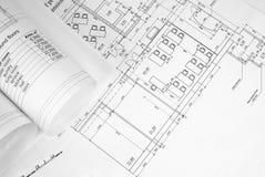 Rollen von Architekturzeichnungen stockfoto