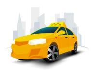 Rollenauto auf weißem Hintergrund Taxidienstleistungen Gelbes Auto des Taxis Taxiauto-Vektorillustration Stockbilder