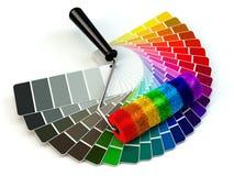 Rollenbürste und -farbe führen Palette in Regenbogenfarben Stockfotos