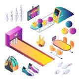 Rollende isometrische Ikonen des Vereinvektors 3d und Gestaltungselementsatz Bowlingkugeln, Kegel und Ausrüstungsillustration stock abbildung