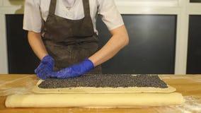 Rollenroulade Herstellung von Poppy Seed Snail stock video