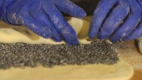 Rollenroulade Herstellung von Poppy Seed Snail stock footage