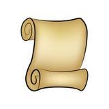 Rollenvektor des Weinleseleeren papiers lokalisiert auf weißem Hintergrund Leeres Pergament rollte herauf Rolle, alte Papierblatt Lizenzfreies Stockfoto