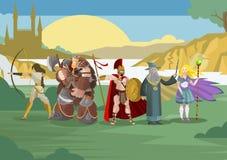 Rollenvideospiel-RPG-Kriegers- und -Zauberercharaktere vektor abbildung