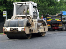 Roadworks. White roller during local roadworks Stock Photography