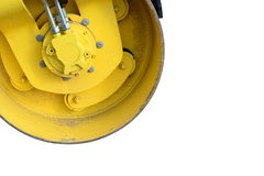 Roller. A yellow hydraulic roller, exempted Stock Image