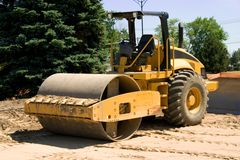 Roller. This is a large highway construction packing roller used to pack sand and aggregates before the laying of asphalt Royalty Free Stock Image