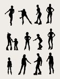 Roller Activity and Sport Silhouettes Stock Photos