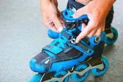 Roller adjusting buckle on inline roller skates. Stock Images