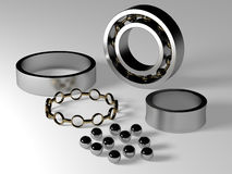 Roller Bearing. Assembly showing all parts Royalty Free Stock Photos