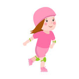 Roller beautiful girl funny sports character skating outdoor summer children hobby and cute young female in pink skates Stock Photos