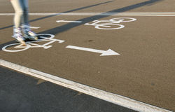 Roller on Bicycle lanes Royalty Free Stock Photo