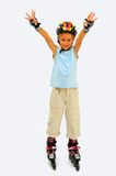 Roller Blades. Blond Boy On Roller Skates Isolated On White Stock Image