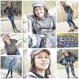 Roller blading collage Royalty Free Stock Photos