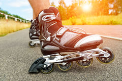Roller blading legs Royalty Free Stock Photography