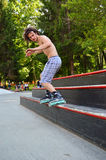 Roller blading in a skate park Royalty Free Stock Photos