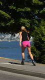 Roller blading in Stanley park Royalty Free Stock Images