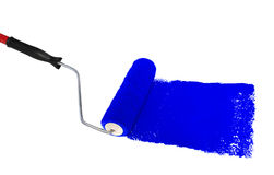 Roller With Blue Paint Stock Image