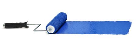 Roller with Blue paint. Over white background - Stitched from three images stock photography