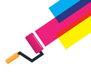 Roller Brush and Cmyk Color.  Stock Photo