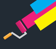 Roller Brush and Cmyk Color.  Royalty Free Stock Image