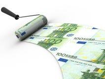 Roller brush. Euro. 3d Stock Image