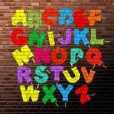 Roller brush font set stock illustration