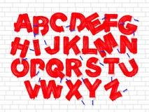 Roller brush graffiti font set royalty free illustration