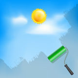 Roller brush painting blue sky with sun and clouds Stock Photos