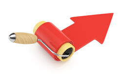 Roller brush and red arrow Stock Images