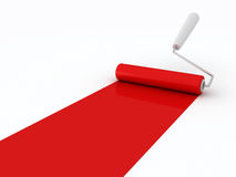 Roller brush with red paint Royalty Free Stock Photo