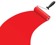 Roller brush with red paint Royalty Free Stock Photos