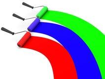 Roller brush. RGB. Very beautiful three-dimensional illustration, figure. roller brush. 3d. RGB Royalty Free Stock Image