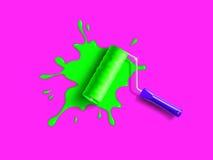 Roller brush splash Royalty Free Stock Photography