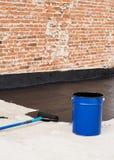 Roller brush waterproofing Royalty Free Stock Image