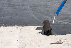 Roller brush waterproofing Royalty Free Stock Images