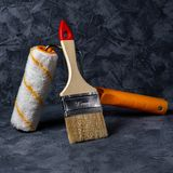 Roller and brush. working tool stock image