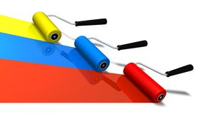Roller Brushes. In three color (3D rendered illustration Royalty Free Stock Photography