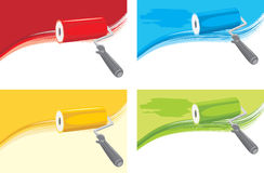 Roller brushes on the abstract background royalty free stock images