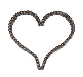 Roller chain with for motorcycle in the form of heart Royalty Free Stock Images