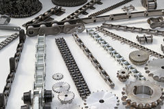 Roller chains. With sporckets for motorcycles and cars Royalty Free Stock Photography