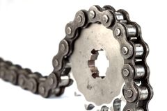 Roller chains with sprockets for motorcycles Royalty Free Stock Photo