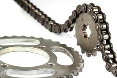 Roller chains with sprockets for motorcycles Stock Photos