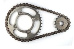 Roller chains with sprockets for motorcycles Stock Images