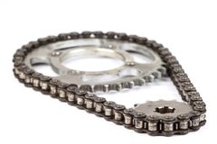 Roller chains with sprockets for motorcycles Royalty Free Stock Photography