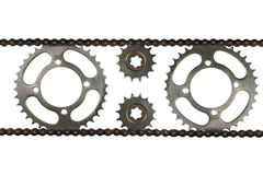 Roller chains with sprockets for motorcycles Stock Image