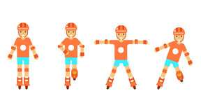 Roller character poses icons set  on white background flat design template vector illustration Royalty Free Stock Images