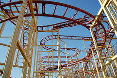 Roller Coaster. The underneath of roller coaster tracks Royalty Free Stock Images