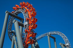 Roller Coaster. Rollercoaster in the amusement park stock photo